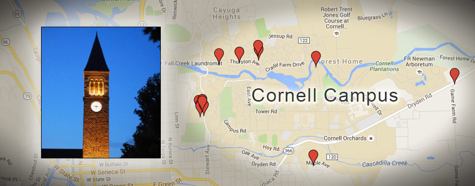 Map displaying Ithaca Student Housing and Apartments close to Cornell University